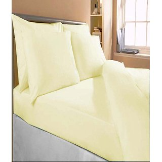 Akash Ganga Yellow Cotton Double Bedsheet with 2 Pillow Covers (KM536)