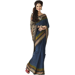 Prafful Bhagalpuri Silk Blue  beautiful saree with unstitched blouse