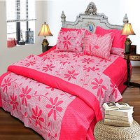JBG Home Store Floral Design 100 Cotton Double Bedsheet With 2 Pillow Covers