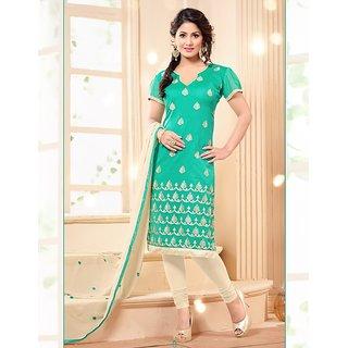 Sareemall Brown Polycotton Lace Salwar Suit Dress Material