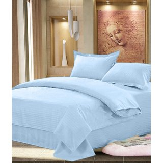 Akash Ganga Blue Cotton Double Bedsheet with 2 Pillow Covers (KM537)