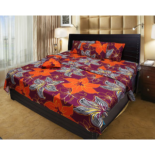 Akash Ganga 100 Cotton Double Bedsheet with 2 Pillow Covers (KM541)
