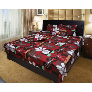 Akash Ganga 100 Cotton Double Bedsheet with 2 Pillow Covers (KM542)