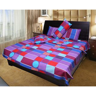 Akash Ganga 100 Cotton Double Bedsheet with 2 Pillow Covers (KM547)