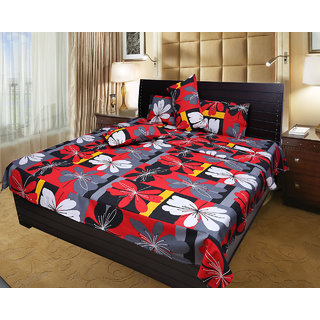 Akash Ganga 100 Cotton Double Bedsheet with 2 Pillow Covers (KM549)