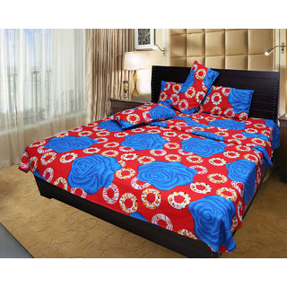 Akash Ganga 100% Cotton Double Bedsheet with 2 Pillow Covers (KM550)