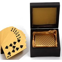 Brand New Luxury Gold Foil Poker Playing Cards With Wooden Box Good Gift Idea
