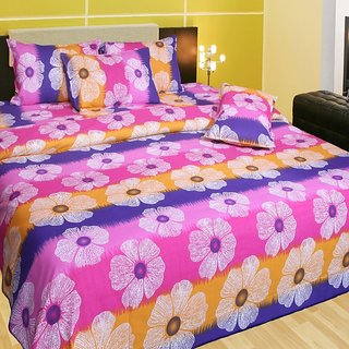 Akash Ganga Cotton Double Bedsheet  with 2 Pillow Covers (KM553)