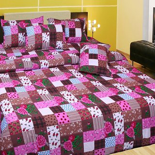 Akash Ganga Cotton Double Bedsheet with 2 Pillow Covers (KM559)