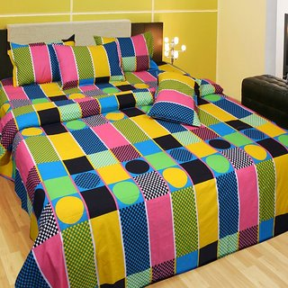 Akash Ganga Cotton Double Bedsheet with 2 Pillow Covers (KM560)