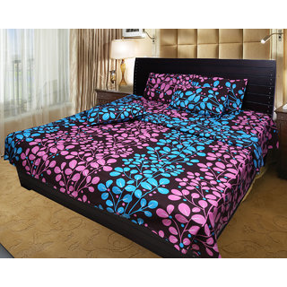 Akash Ganga Cotton Double Bedsheet with 2 Pillow Covers (KM563)