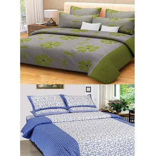 Akash Ganga Combo of 2 Cotton Double Bedsheets with 4 Pillow Covers (KM591)