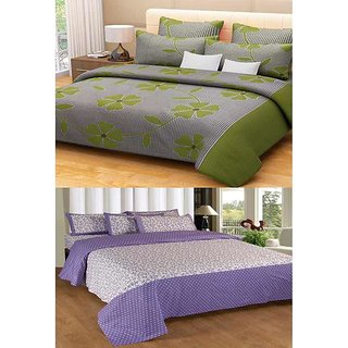 Akash Ganga Combo of 2 Cotton Double Bedsheets with 4 Pillow Covers (KM594)