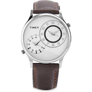Timex Round Dial Black Leather Strap Mens Quartz Watch
