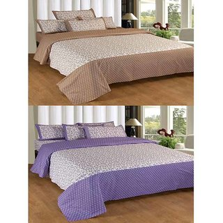 Akash Ganga Contemporary 2 Double Bedsheets with 4 Pillow Covers (KM609)