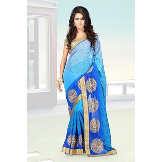 Sareemall Self Designer Color Blue  60gm Padding Embroided Saree