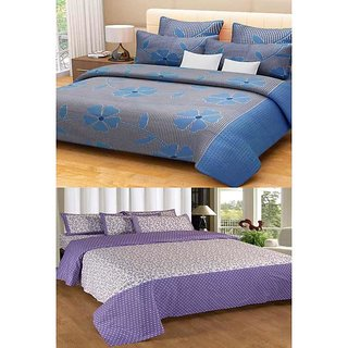 Akash Ganga Combo of 2 Cotton Double Bedsheets with 2 Pillow Covers (KM612)
