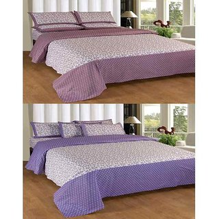 Akash Ganga Contemporary Cotton 2 Double Bedsheets with 4 Pillow Covers (KM615)