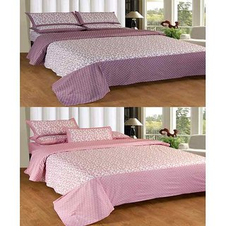 Akash Ganga Contemporary Cotton 2 Double Bedsheets with 2 Pillow Covers (KM618)