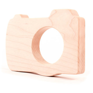 organic camera wood teether for infant baby - an all natural wooden teething toy simple and safe for all ages