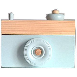 Wooden Camera- Camera Ornament- Baby Blue Home Decor- Toy Camera- Camera Sculpture- Blue Decor- Baby Blue Camera- Wooden Home Decor