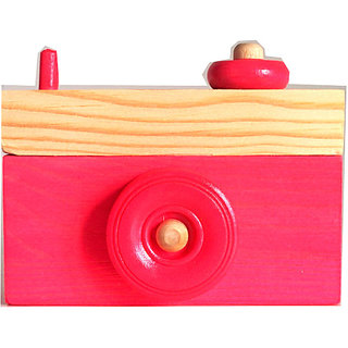 Wooden Camera- Camera Ornament- Baby Red Home Decor- Toy Camera- Camera Sculpture- Red Decor- Baby Red Camera- Wooden Home Decor