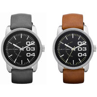 CLAYTON SET OF TWO DESIGNER WATCHES -NUMBERIC BLACK  BROWN