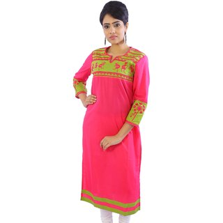 Shop Rajasthan Self Design Pink Light Green 3/4 Sleeve Womens Cotton Kurti (SRE2216)