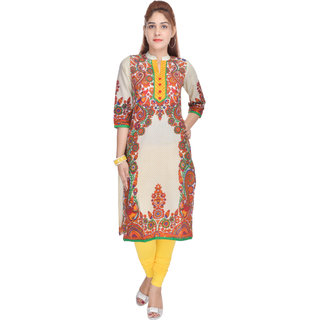 Shop Rajasthan Brown & Cream Printed Cotton Stitched Kurti