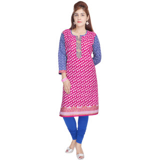 Shop Rajasthan Pink Blue Cotton Regular Kurti For Women