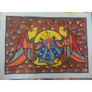 fish and peacock in madhubani painting