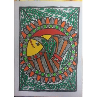 beautiful fish in madhubani painting