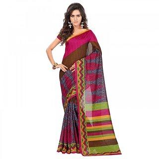 Sareemall Multicolor Bhagalpuri Silk Printed Saree With Blouse