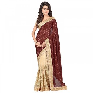 Sareemall Multicolor Viscose Net Embroidered Saree With Blouse