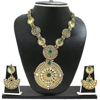 Zaveri Pearls Green Rajasthani Royal Necklace Set for Women-ZPFK1989