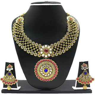 Zaveri Pearls RedBlue Alloy Gold Plated Necklace Set For Women