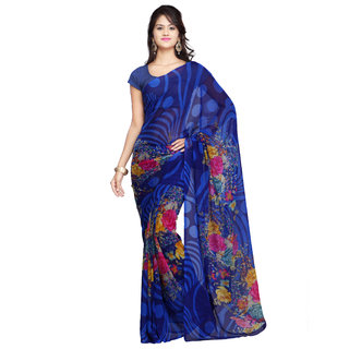 Adah Fashions Blue Chiffon Printed Saree available at ShopClues for Rs.599