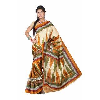 Aaina Multi Printed Bhagalpuri Silk Saree (FL-5033-D)