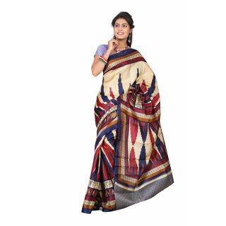 Aaina Multi Printed Bhagalpuri Silk Saree (FL-5033-A)