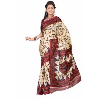 Aaina Multi Printed Bhagalpuri Silk Saree (FL-5034-C)
