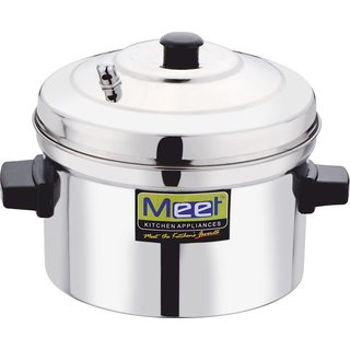 Meet Stainless Steel Idli Cooker with 4 Plates 9 Diameter Sliver Steel