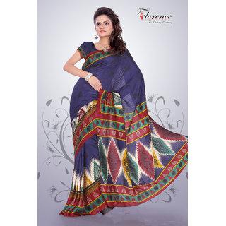 Aaina Blue Printed Bhagalpuri Silk Saree (FL-1300-A)