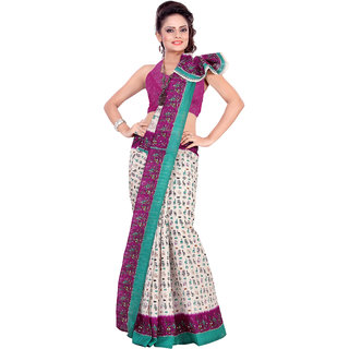 Aaina Multi Printed Bhagalpuri Silk Saree (FL-1293-D)
