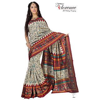 Aaina Multi Printed Bhagalpuri Silk Saree (FL-1321-B)