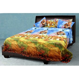 AKASH GANGA MULTI COLOUR POLLY COTTON BEDSHEET WITH 2 PILLOW COVERS (KM578)