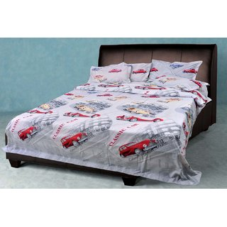 AKASH GANGA MULTI COLOUR POLLY COTTON BEDSHEET WITH 2 PILLOW COVERS (KM580)