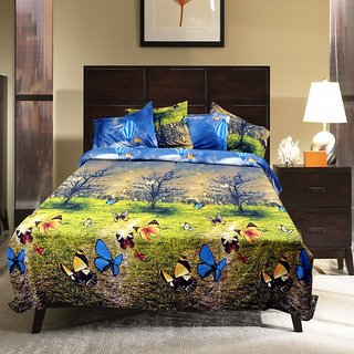 AKASH GANGA MULTI COLOUR POLLY COTTON BEDSHEET WITH 2 PILLOW COVERS (KM584)