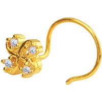 Mahi Gold Plated Tetrad Foliole Nosepin with CZ for Women NR1100142G