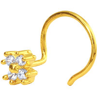 Mahi Gold Plated The Petiole Nosepin with CZ for Women NR1100147G