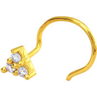 Mahi Gold Plated Auric Hastate Nosepin with CZ for Women NR1100148G